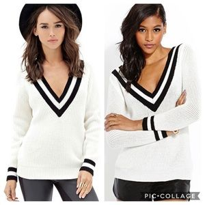 Sweaters - Varsity Stripe V-Neck Sweater